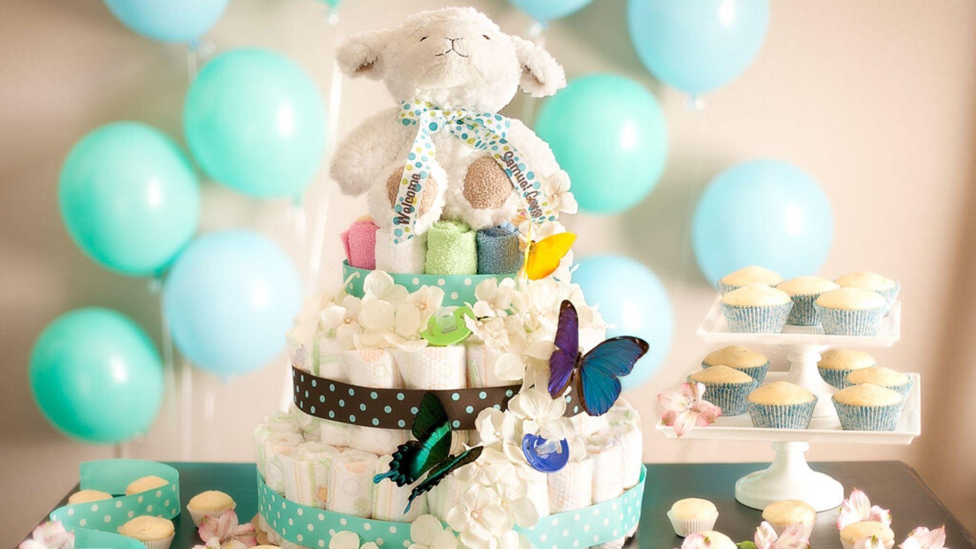 baby shower; gâteau de couches; bapteme